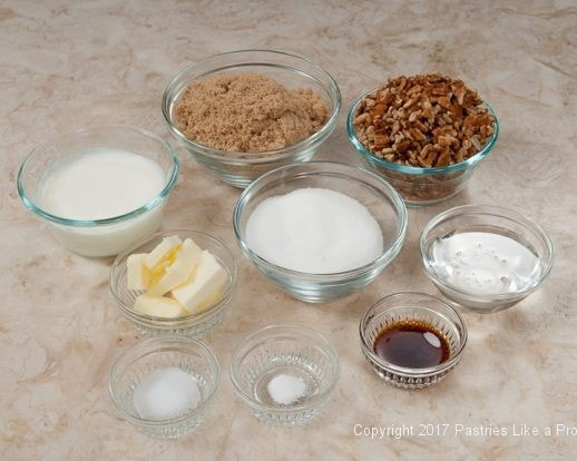 Ingredients for Praline Squares or Pecan Candy