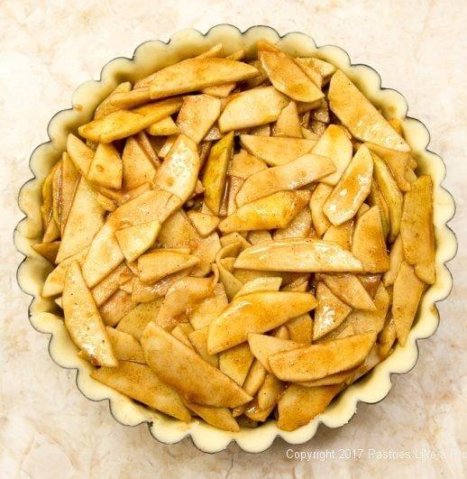 Apples in pan for the Caramel Apple Tart