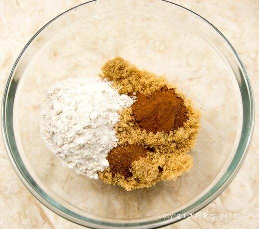 Dry ingredients for filling for the Caramel Apple Tart
