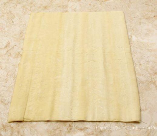 Sheet of dough for Chocolate Marshmallow Cream Horns