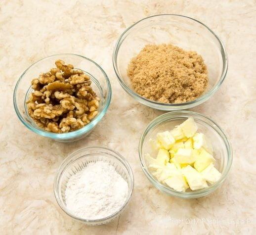 Streusel ingredients for the Caramel Apple Tart