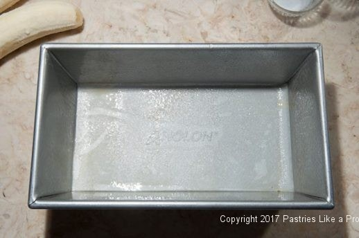Prepared pan for Two Step Banana Bread